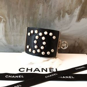 Rare Chanel Leather CC Pearl Studded Cuff Bracelet